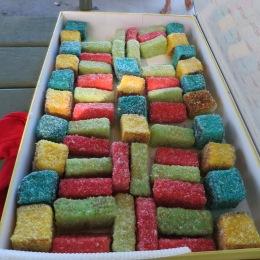 Multi-coloured lamingtons