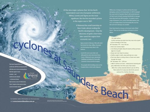 Image 1. The Saunders Beach Cyclone sign. Designed and installed by Thuringowa City Council.