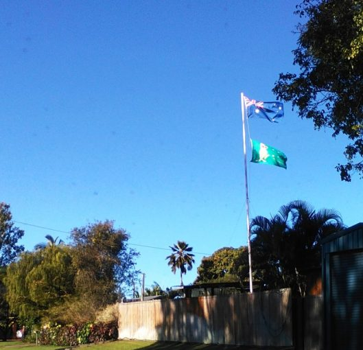 Image 7. On a flagpole in Atoll Street the Australian Flag is proudly flown. Below is the boxing kangaroo flag, which is popular with Aussies at international sporting events.