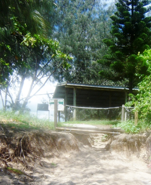 Image 12. Taken 21 February 2010. Heavy rain eroded the entrance to the beach.