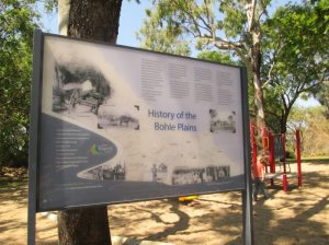 "Image 5. ""History of the Bohle Plains"", another example of the Great Tropical Drive interpretive signage. This one is situated at the eastern end of Mt Low Parkway and mentions George Saunders as one of the settlers who took up land in what was to become Bushland Beach"